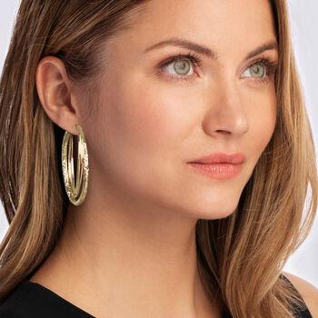 """Italian 14kt Yellow Gold Triple Hoop Earrings. 1 3/4"""", , default"""