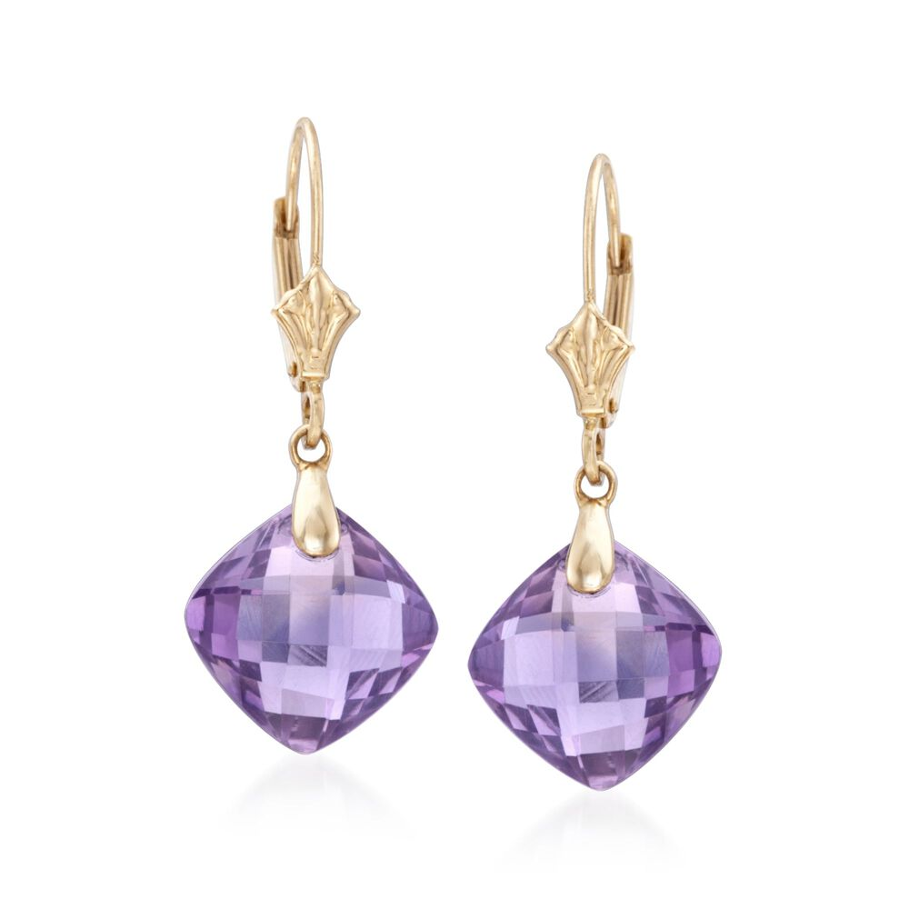 T W Amethyst Drop Earrings In 14kt Yellow Gold Default