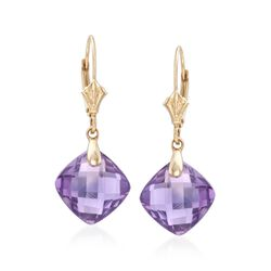 7.50 ct. t.w. Amethyst Drop Earrings in 14kt Yellow Gold , , default