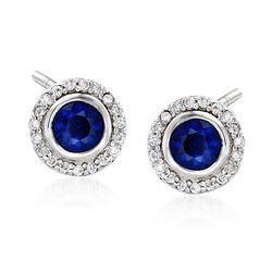 1.00 ct. t.w. Round Sapphire and .20 ct. t.w. Diamond Halo Earrings in 14kt White Gold, , default