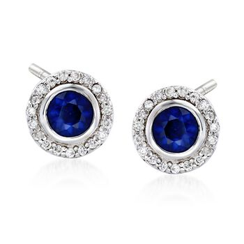 1.00 ct. t.w. Round Sapphire and .20 ct. t.w. Diamond Halo Earrings in 14kt White Gold , , default