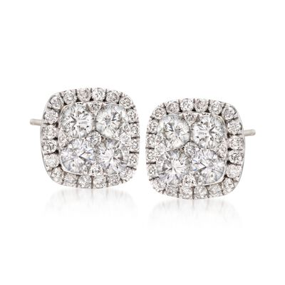 1.05 ct. t.w. Diamond Square Cluster Earrings in 18kt White Gold