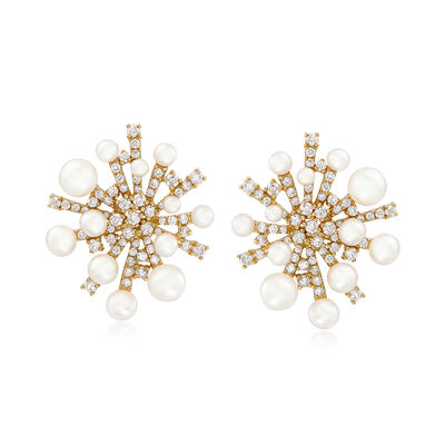 2.5-6mm Cultured Pearl and 2.20 ct. t.w. Diamond Snowflake Earrings in 14kt Yellow Gold