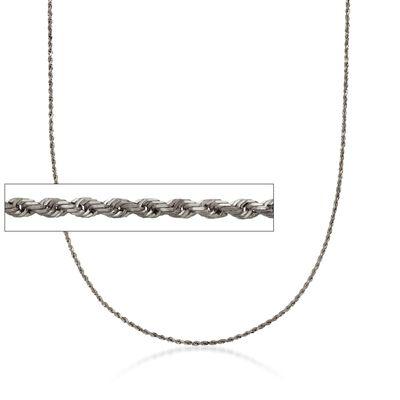 Italian 1.3mm Sterling Silver Adjustable Slider Rope Chain Necklace in Black, , default