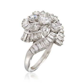C. 1990 Vintage 3.76 ct. t.w. Certified Diamond Floral Cluster Ring in Platinum. Size 6, , default