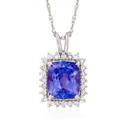 """2.70 Carat Tanzanite and .20 ct. t.w. Diamond Pendant Necklace in 14kt White Gold. 16"""", , default"""