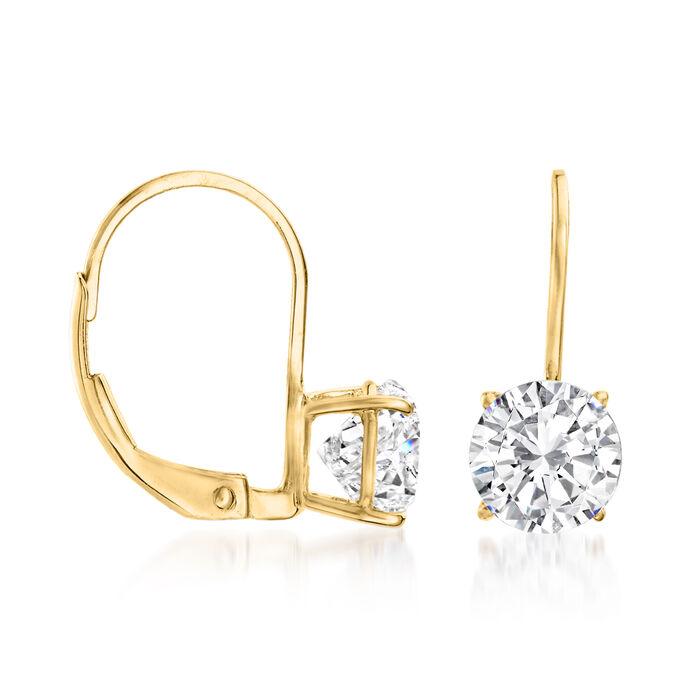2.00 ct. t.w. CZ Drop Earrings in 14kt Yellow Gold
