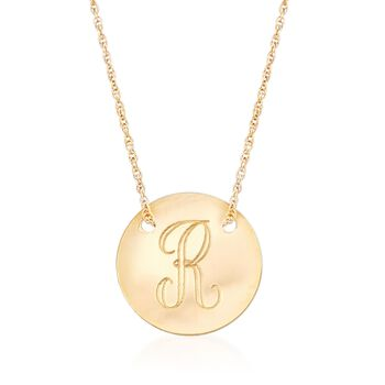 14kt Yellow Gold Personalized Disc Necklace, , default