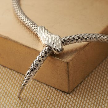 Italian Sterling Silver Diamond-Cut Snake Collar Necklace, , default