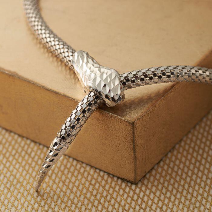 Italian Sterling Silver Diamond-Cut Snake Collar Necklace