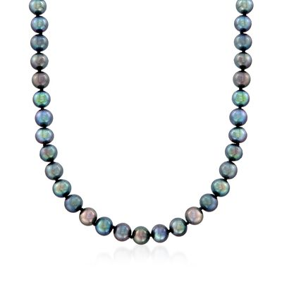 7-8mm Black Cultured Pearl Necklace with 14kt White Gold, , default