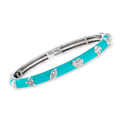 "Belle Etoile ""Seashells"" Aqua Enamel and .15 ct. t.w. CZ Bangle Bracelet in Sterling Silver, , default"