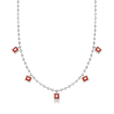 1.15 ct. t.w. Diamond Station Drop Necklace with Red Enamel in 18kt White Gold, , default