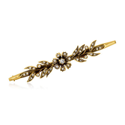 C. 1950 Vintage .57 ct. t.w. Diamond Bar Pin in 18kt Yellow Gold