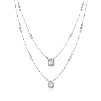"""1.20 ct. t.w. CZ Two-Strand Layered Necklace in Sterling Silver. 14"""", , default"""