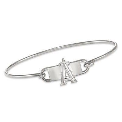 """Sterling Silver MLB Los Angeles Angels Small Center Wire Bangle Bracelet. 7"""", , default"""