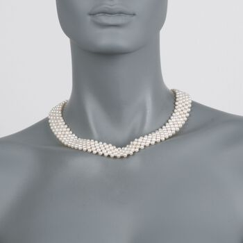 """3-5.5mm Cultured Pearl Multi-Row Necklace with Sterling Silver. 18"""""""