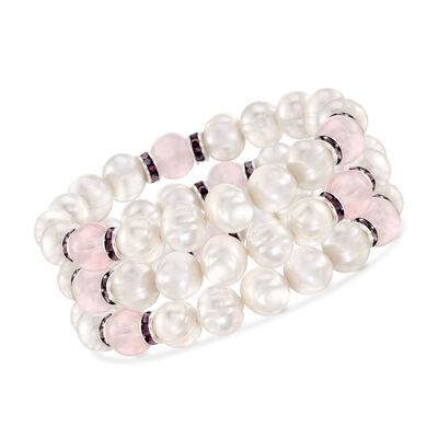 9-10mm Cultured Pearl and Rose Quartz Jewlery Set: Three Stretch Bracelets with Purple CZs