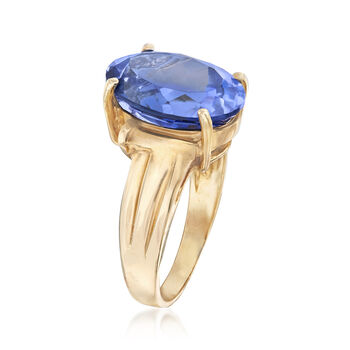 C. 1980 Vintage 8.65 Carat Synthetic Sapphire Ring in 10kt Yellow Gold. Size 6.75, , default