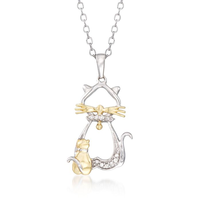 """Two-Tone Sterling Silver Cat and Kitten Pendant Necklace with Diamond Accents. 18"""""""