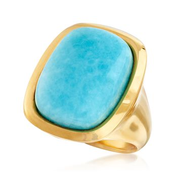 Italian Andiamo 14kt Yellow Gold and Amazonite Ring. Size 5