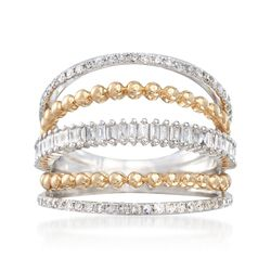 .60 ct. t.w. Diamond Open Multi-Row Ring in 14kt Two-Tone Gold. Size 9, , default
