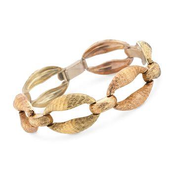 """C. 1960 Vintage 18kt Yellow and Rose Gold Oval Link Bracelet. 7.75"""", , default"""