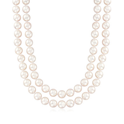 8-8.5mm Cultured Akoya Pearl and 2.00 ct. t.w. Pave Diamond Necklace in 18kt White Gold