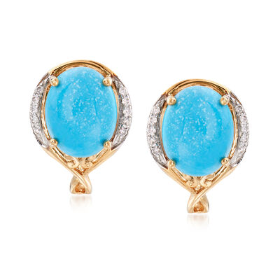Stabilized Turquoise and .10 ct. t.w. Diamond Earrings in 14kt Yellow Gold, , default