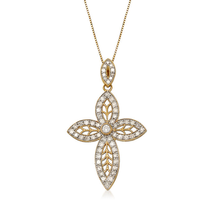 .63 ct. t.w. Diamond Marquise-Shaped Cross Pendant Necklace in 14kt Yellow Gold, , default