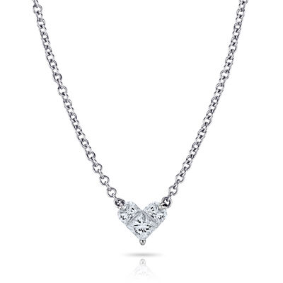 .29 ct. t.w. Diamond Heart Pendant Necklace in 18kt White Gold, , default