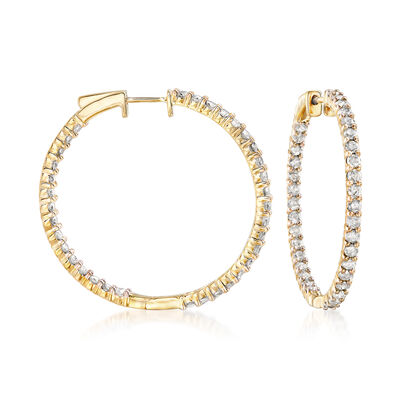 3.00 ct. t.w. Diamond Inside-Outside Hoop Earrings in 18kt Gold Over Sterling