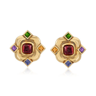 C. 1980 Vintage 10.20 ct. t.w. Multicolored Earrings in 18kt Yellow Gold, , default