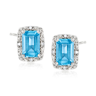 1.30 ct. t.w. Swiss Blue Topaz Stud Earrings with Diamond Accents in Sterling Silver