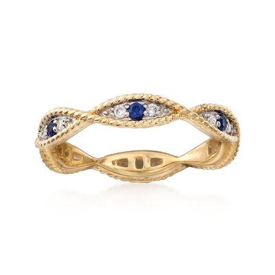 .12 ct. t.w. Diamond and .10 ct. t.w. Sapphire Milgrain Twist Eternity Band in 14kt Yellow Gold, , default