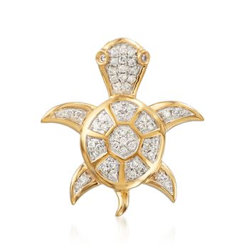 .25 ct. t.w. Diamond Turtle Pendant in 14kt Yellow Gold, , default