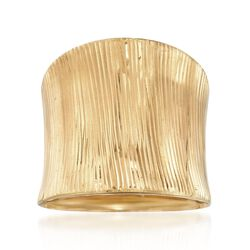 Italian 14kt Yellow Gold Wide Ribbed Ring, , default