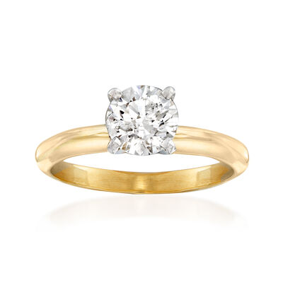 C. 2000 Vintage 1.04 Carat Diamond Solitaire Ring in 14kt Yellow Gold, , default