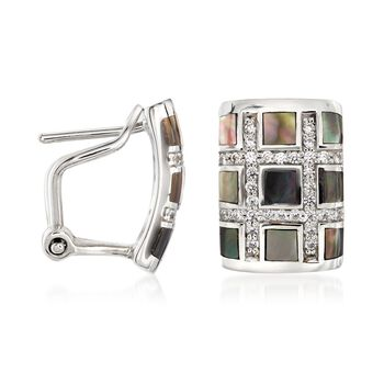 "Belle Etoile ""Regal"" Black Mother-Of Pearl and .45 ct. t.w. CZ Hoop Earrings in Sterling Silver. 1/2"", , default"
