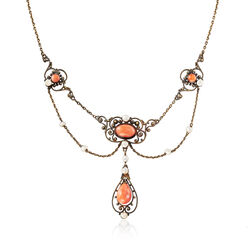 "C. 1880 Vintage Pink Coral and Cultured Seed Pearl Necklace in 18kt Yellow Gold. 18"", , default"
