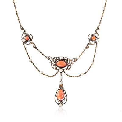 C. 1880 Vintage Pink Coral and Cultured Seed Pearl Necklace in 18kt Yellow Gold, , default