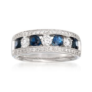 .75 ct. t.w. Diamond and .70 ct. t.w. Sapphire Ring in 14kt White Gold, , default