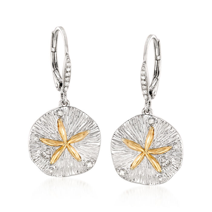 Sterling Silver and 14kt Gold Sand Dollar Drop Earrings with .10 ct. t.w. Diamonds , , default