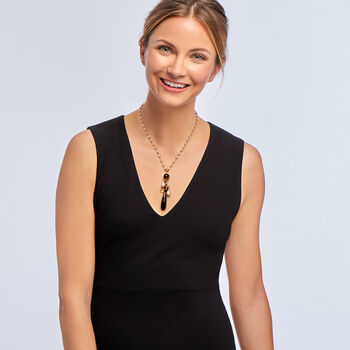 """C. 2000 Vintage Mimi Milano Gray Cultured Pearl, Smoky Quartz, Black Onyx and Brown Diamond Drop Station Necklace in 18kt Rose Gold. 17.5"""", , default"""
