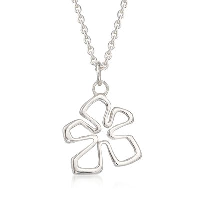 "Zina Sterling Silver Small ""Tiki"" Flower Pendant Necklace, , default"