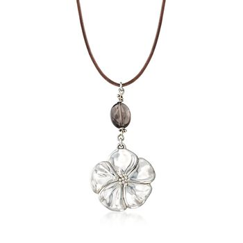 "Sterling Silver Flower Necklace With Brown Glass Bead and Leather Cord. 18"", , default"