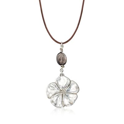 Sterling Silver Flower Necklace with Brown Glass Bead and Leather Cord, , default