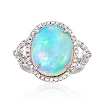 White Opal and .48 ct. t.w. Diamond Ring in 14kt White Gold, , default