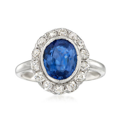 C. 1990 Vintage 2.36 Carat Sapphire and .55 ct. t.w. Diamond Ring in 14kt White Gold, , default