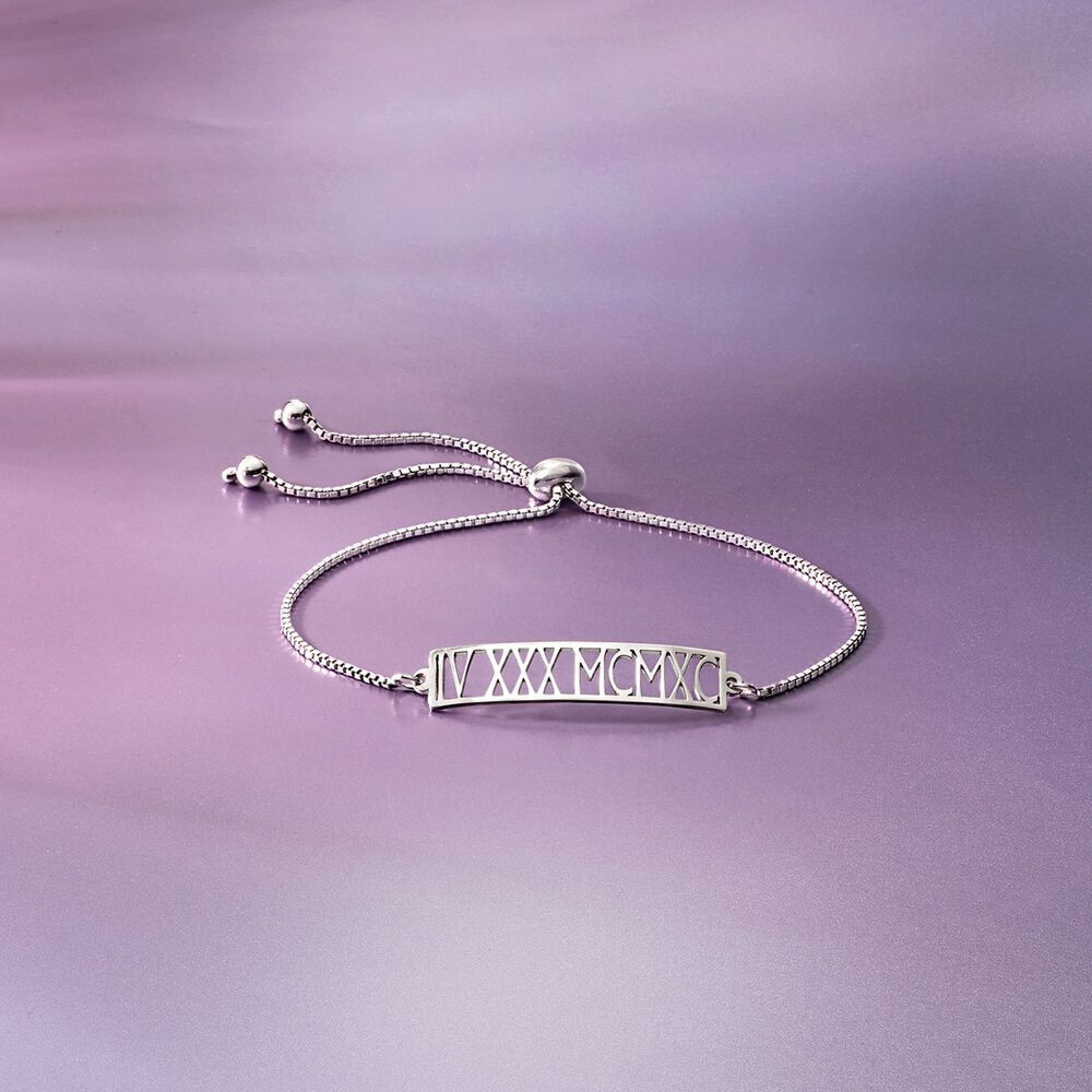 74cae667f ... default Sterling Silver Roman Numeral Date Bolo Bracelet, ...